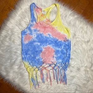 Tie dye tank top with fringe pink blue size small
